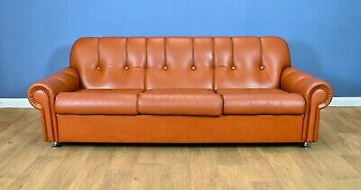 Mid Century Retro Danish Tan Brown Leather & Chrome 3 Seat Sofa Settee 1960s 70s