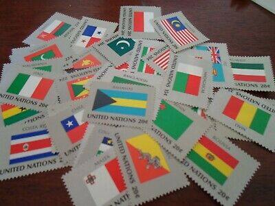 Collection lot 40 different MNH stamps of United Nations Flags