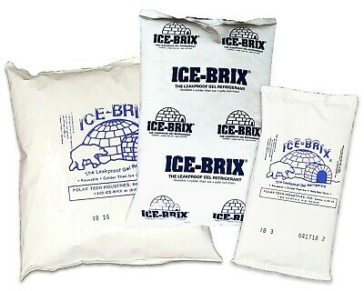 Ice-Brix Reusable NonToxic Gel Food Safe Ice Packs Leakproof  3oz, 8oz, 16oz FDA