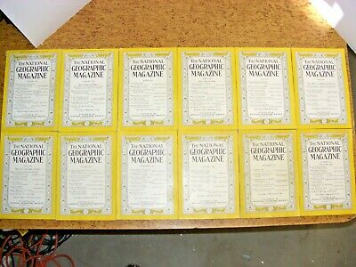Vintage 1946 Full Year 12 NATIONAL GEOGRAPHIC Magazine 1940's Complete Lot 40's