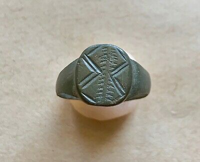 Byzantine Bronze Ring With Decorative Engravings On Bezel. Excellent Piece!