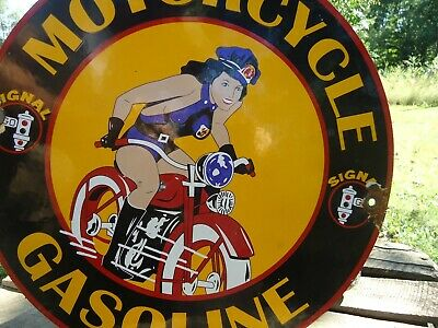 Old 1948 Signal Motorcycle Gasoline Porcelain Enamel Gas Pump Station Sign