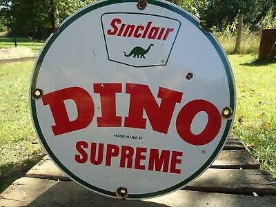 Vintage 1957 Sinclair Dino Gasoline Porcelain Enamel Gas Pump Station Sign