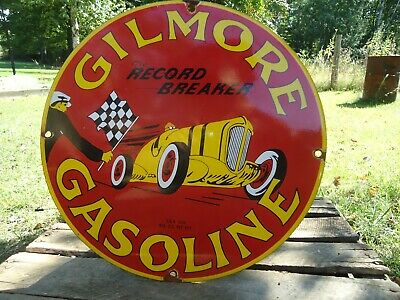 "Old 1939 Gilmore Gasoline ""The Record Breaker"" Porcelain Enamel Gas Pump Sign"