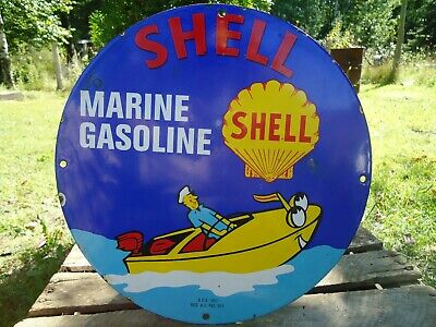 Old1951 Vintage Shell Marine Gasoline Porcelain Enamel Gas Pump Sign Boat Sea