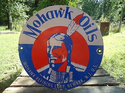 1951 Mohawk Oils Gasoline Porcelain Enamel Gas Pump Sign Indian Chief Newark Nj