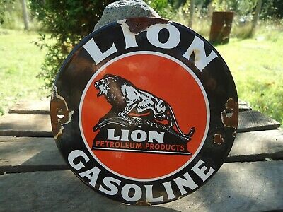 Old Lion Gasoline Porcelain Enamel Gas Pump Station Door Sign