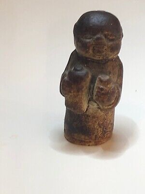 Interesting Chinese Miniature Boy Figure, Stoneware. Ming? Very Early Pottery