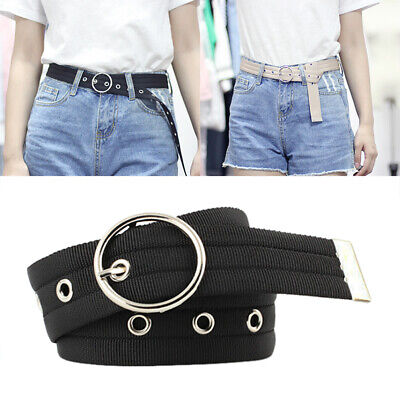 Fashion Women Round Circle Metal Buckle Canvas Stretch Elastic Band Waist Belt&