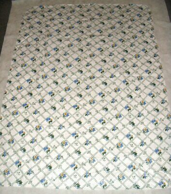 Vtg White Blue Yellow Floral Vinyl Tablecloth w/Flannel Back 51 x 69 Rectangular