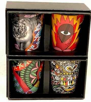 NEW Complete Set Of 4 Starbucks Coffee Stories Artists Collectible Shot Glasses