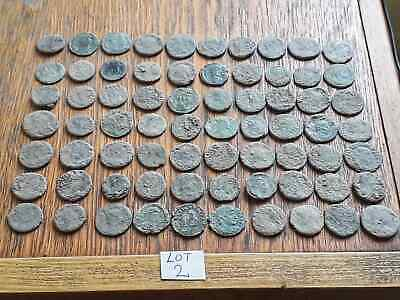 BEAUTIFUL LOT OF 70 ANCIENT ROMAN BRONZE  COINS  FOR CLEANING  lot 2 INTACT