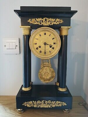 19th Century French Marble Portico Clock
