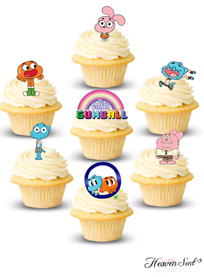30x Gumball UNCUT Cake Cupcake Edible Icing Stand Card Wafer Toppers Birthday