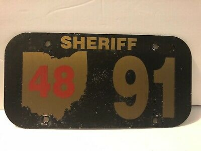 Ohio Sheriff License Plate 48 91 front 48 20back Obsolete Police Law Enforcement