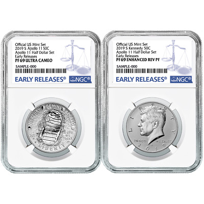 2019-S 50c Apollo 11 50th Ann. Half Dollar 2pc. Set NGC PF69 Blue ER Label