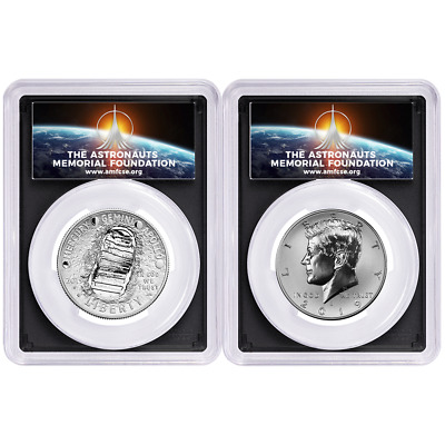 2019-S 50c Apollo 11 50th Ann. Half Dollar 2pc. Set PCGS PR69 FS AMF Label Black