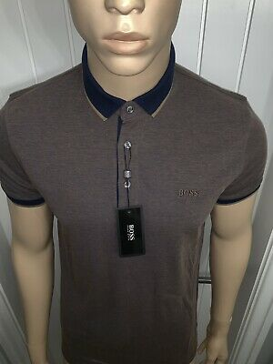 """Hugo Boss Polo Shirt Top Prout Forest/Navy/Blue Mens Xxxlarge 46""""Chest £41.99"""