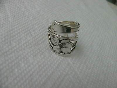 Wallace Antique 1910 Sterling Silver spoon RING s 8 Flower Floral Jewelry # 6655