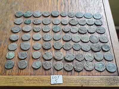BEAUTIFUL LOT OF 70 ANCIENT ROMAN BRONZE  COINS  FOR CLEANING  lot 5 INTACT