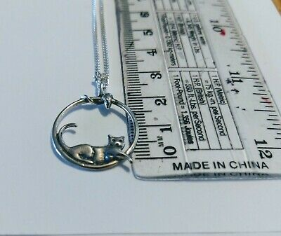 Handmade Cat And Mouse Silver Pendant And Chain