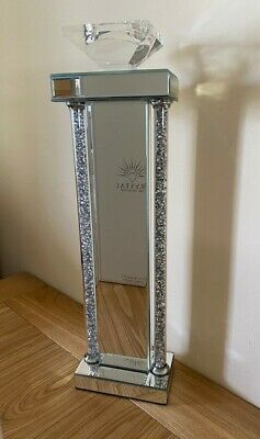 Tall Mirror Glass Crushed Diamond Crystal Glitz Sparkle Candle Stick Holder 53cm