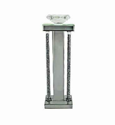 Tall Mirror Glass Crushed Diamond Crystal Glitz Sparkle Candle Stick Holder 43cm