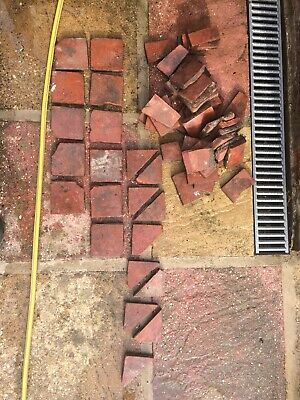 """4"""" X 4"""" Reclaimed Victorian Red Quarry Tile Offcuts"""