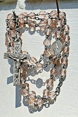 1890'S  Victorian Crystal Rosary Sterling Silver  Parts Light Pink Faceted Beads