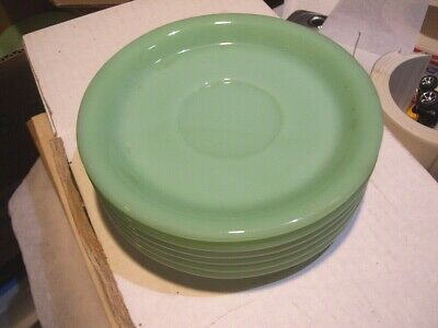 Fire King Jadeite Heavy Restaurant Ware Saucer * 6 PIECES * EVC * Green Jadite
