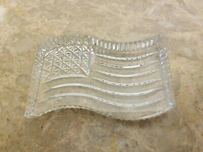 WATERFORD Crystal Flag Paperweight