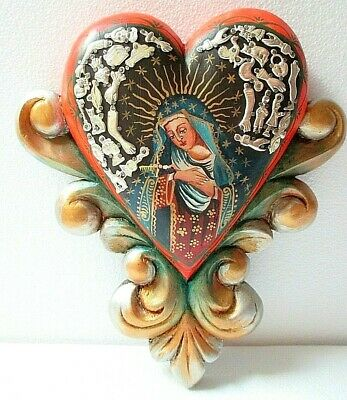 Mexican Folk Art Wall Heart Milagro Prayer Charm Ex Voto Santo Virgin Guadalupe