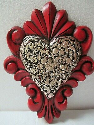 Mexican Folk Art Carved Wood Wall Heart Milagro Prayer Charm Ex Voto 12""
