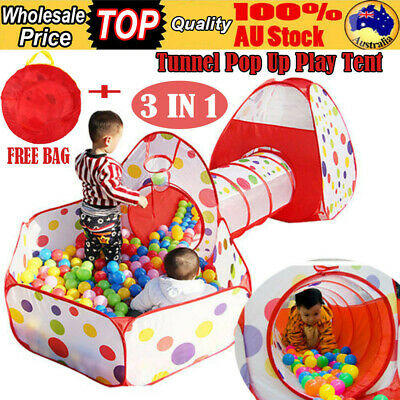3 IN 1 Kids Toddlers Tunnel Pop Up Play Tent Cubby Playhouse Indoor Outdoor Wa