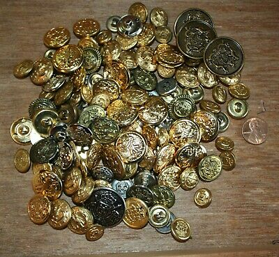 Military & Military Style Metallic, Brass, Shank Metal Buttons ( Approx. 200 )