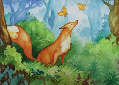 ACEO Fantasy Ginger Fox In Magic Forest Watercolor Original Signed Trading Card