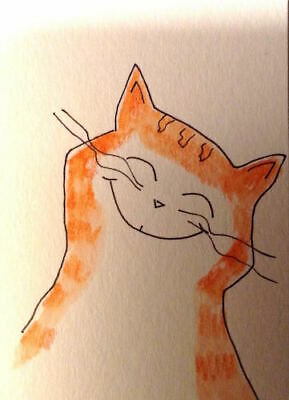 ACEO Art Card Signed Original Watercolor OrangeAid Tabby Cat MiloLee
