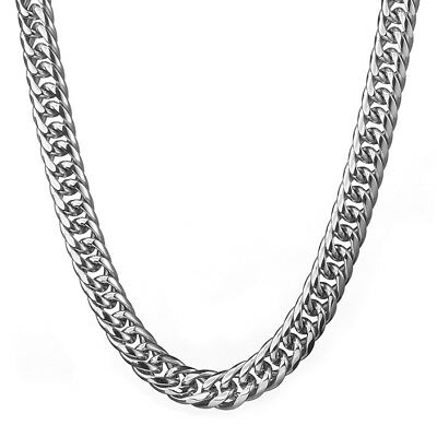 Top 316L Stainless Steel Heavy Link Silver Curb Cuban Chain Men Necklace 16mm