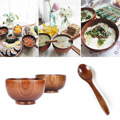 1x New Japanese Style Wooden Bowl Soup/Salad Rice Bowls Natural Wood Tableware