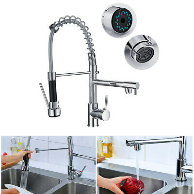 Swivel Solid Brass Spout Spring Kitchen Faucet Pull Down Spray Sink Mixer Taps