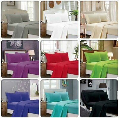 1000TC Ultra SOFT Flat & Fitted Sheet Set Queen/King/Super King Size Bed New NC