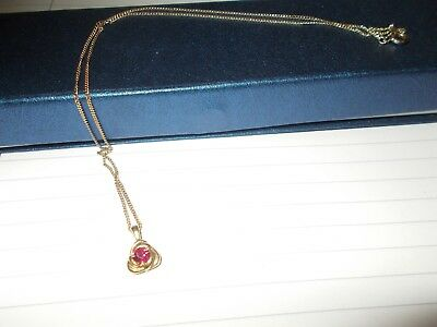 9Ct Yellow Gold Ruby Pendant On 9Ct Yellow Gold Chain In Gift Box