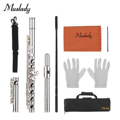 16 Holes C Practice Flute for Student Beginner School Band with Carry Case N5G4
