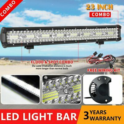 23inch Tri Row CREE LED Light Bar Combo Beam Work Driving Offroad 4WD 22'' +Wire