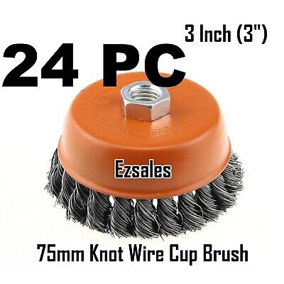 "24 Twist Knot Wire Cup Brush 3"" (75mm) for 4-1/2"" (115mm) Angle Grinder"