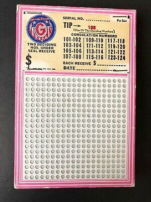 G Punch Board Tip Board Gambling Game Excellent Condition 1950s-1960s Vintage