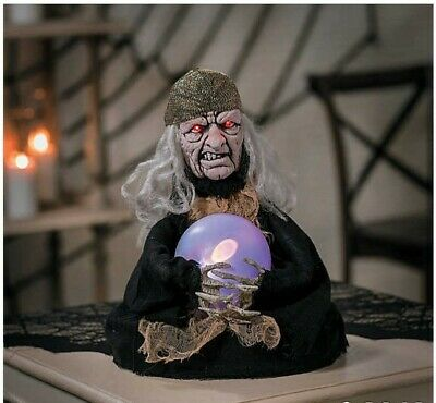 Halloween Decorations Creepy Scary Animated Witch Fortune Teller Yard Decor Prop