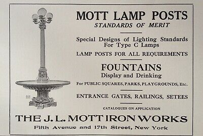 1916 Ad(K10)~J.l. Mott Iron Works Co. Nyc. Mott Lamp Posts And Fountains