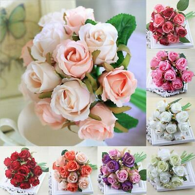 Artificial Bouquet 12 Head Rose Silk Fake Flowers Wedding Party Home Decoration