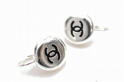 Authentic Chanel Pierced Earrings Silver Tone CC Logo Round  1101335